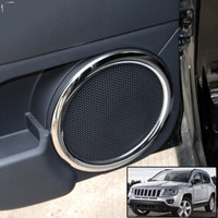 For Jeep Compass Patriot Interior Door Stereo Speaker Ring Chrome Trim Cover 2008 2014 Bezel Car Styling Accessories Sticker