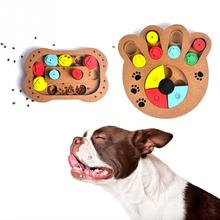 Food Feeder Claw Bone Design Educational Dog Puzzle Toys IQ Training Game Plate Interactive Wooden Dog Toys