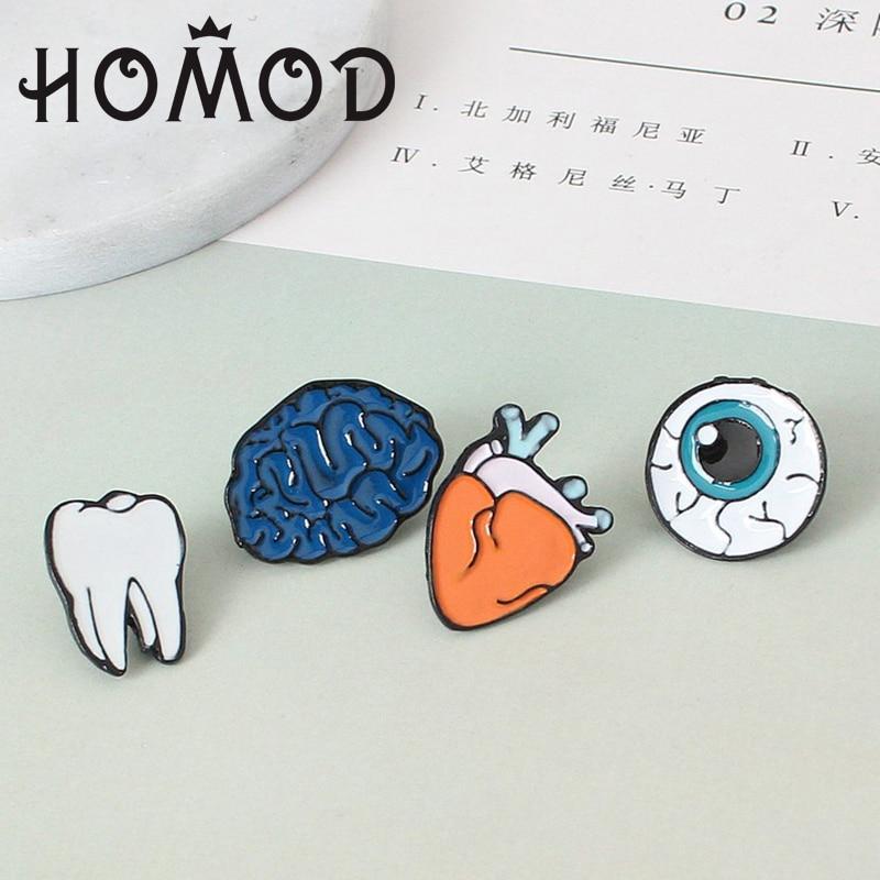 HOMOD Tooth Eye Heart Brain Organ Brooches Cartoon Enamel Brooch Pins Women Men Jewelry Accessories for Clothes Scarf Badges
