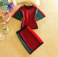 Otoño Nuevo de Las Mujeres de Contraste de Color Tejer Falda Conjuntos Jerseys Suéter de manga Corta y Mini Falda Casual de Las Señoras Establece 1180