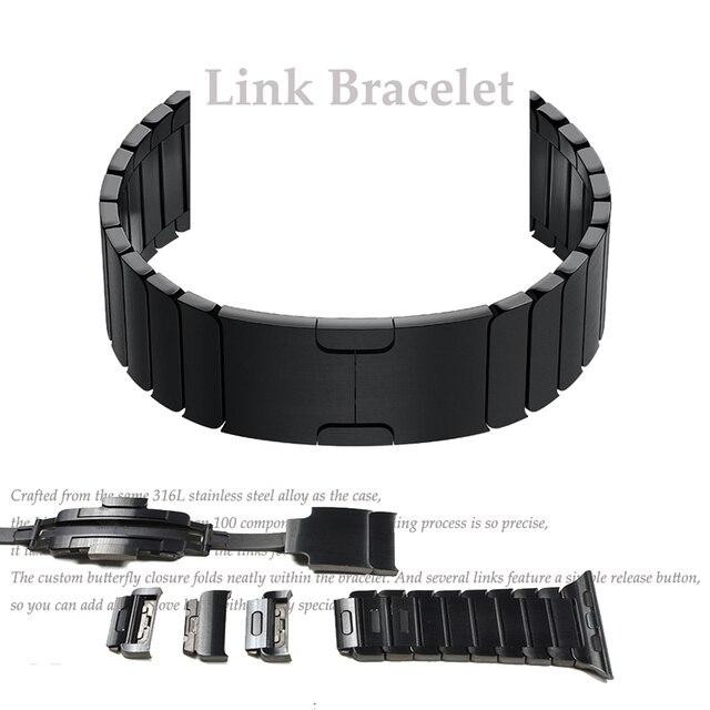 時計ストラップダブルボタンフォールディングクラスプappleの腕時計4 3 2交換ステンレス鋼ためiwatch 38または44ミリメートル42または44ミリメートル
