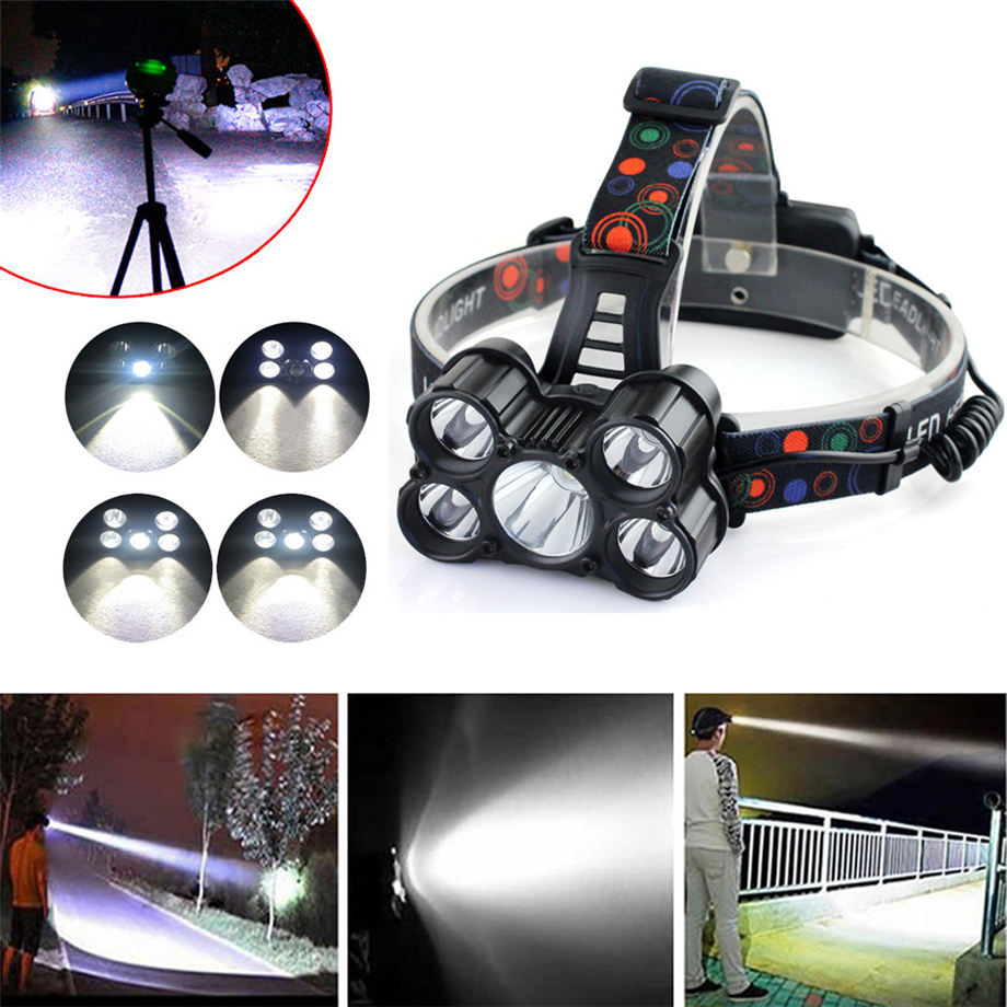 HOT! 2017 30000LM 6 Modes 5x XM-L T6 LED Rechargeable 18650 Headlamp Head Light Torch Dropshipping #1101