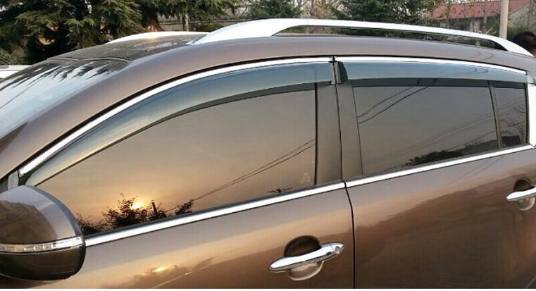 4 pieces/ lot plastic Car Exterior Window Visor Vent Deflector Sun Rain Guard Shield For Kia Sportage R 2010 2011 2012 2013 2014 пороги rival bmw style hyundai ix35 2010 2013 2015 kia sportage 2010 2014 2015 круг 173 см крепеж 2 шт