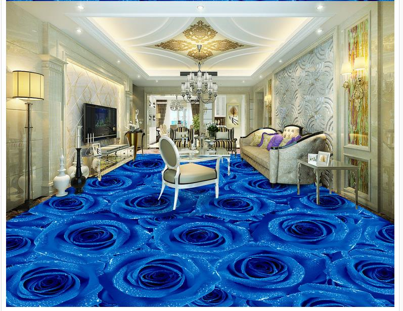 Aliexpress Buy 3D PVC Floor Wallpaper Blue Rose Living Room Bedroom Tiles Custom Photo Self Adhesive From Reliable 3d Flooring