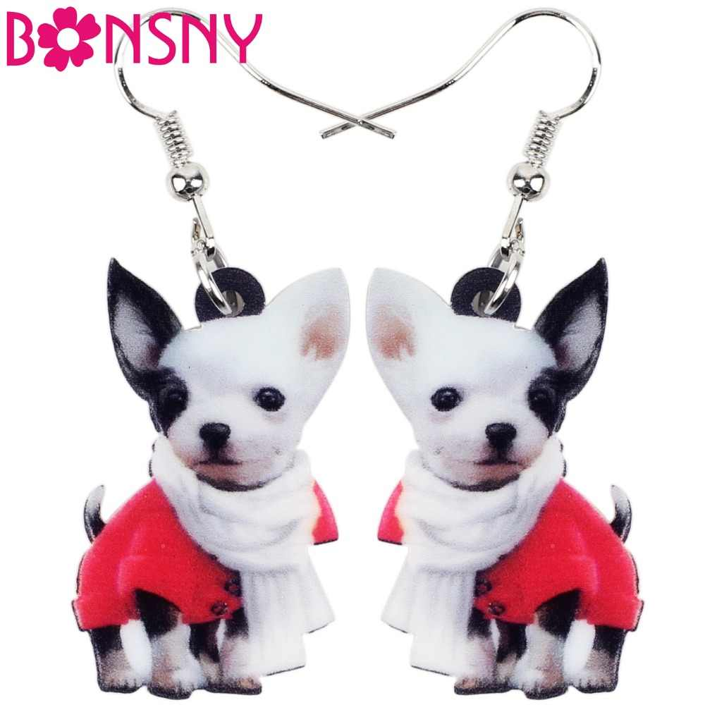 Bonsny Drop Acrylic Scarf Chihuahua Dog Earring Big Long Dangle Animal Jewelry For Girl Women Lady Cartoon Accessories Wholesale