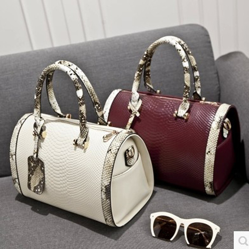 Barrel Shaped Women Handbag Alligator PU Leather Shoulder Tote Bag Luxury  Casual Ladies Leisure Crossbody Hand Bags Female fb0d16f3b7