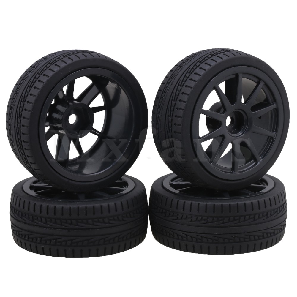 Mxfans Black Plastic V Shape Wheel Rims + Arrow Type Rubber Tyres for RC 1:10 On Road Racing Car Pack of 4