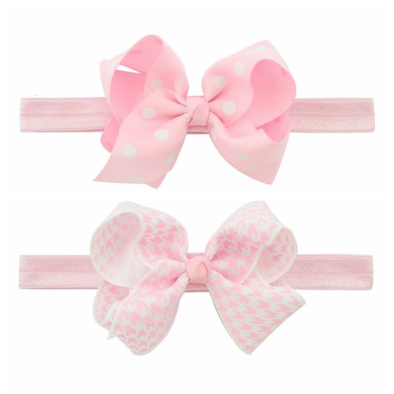 Headband Baby Girl Hair Bows Newborn Elastic Hair Band Kids Cute Children Hair Accessories Ribbon Head Band with Dot 2pcs/set 12pc set elastic hair rubber band children hair unicorn headband kids hair accessories gril hair band set cute unicorn cartoon