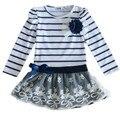 Hot Venda Nova Crianças Outono Bebê Vestido De Casamento Vestidos de Meninas Crianças Listrado Arco Longo-Manga Rendas Princesa Vestido Ocasional para o Partido