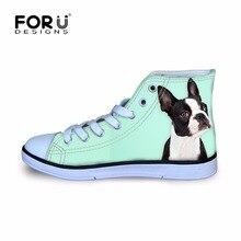 Кеды forudesigns для детей; прогулочная обувь для мальчиков и девочек; забавная спортивная обувь для фитнеса с принтом Бостонского терьера; высокие ботинки на плоской подошве