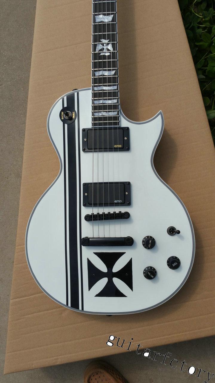 все цены на  New Factory Custom Shop Ebony Fretboard White Metallica James Hetfield Iron Cross ESP Signature Electric Guitar Free Shipping  в интернете