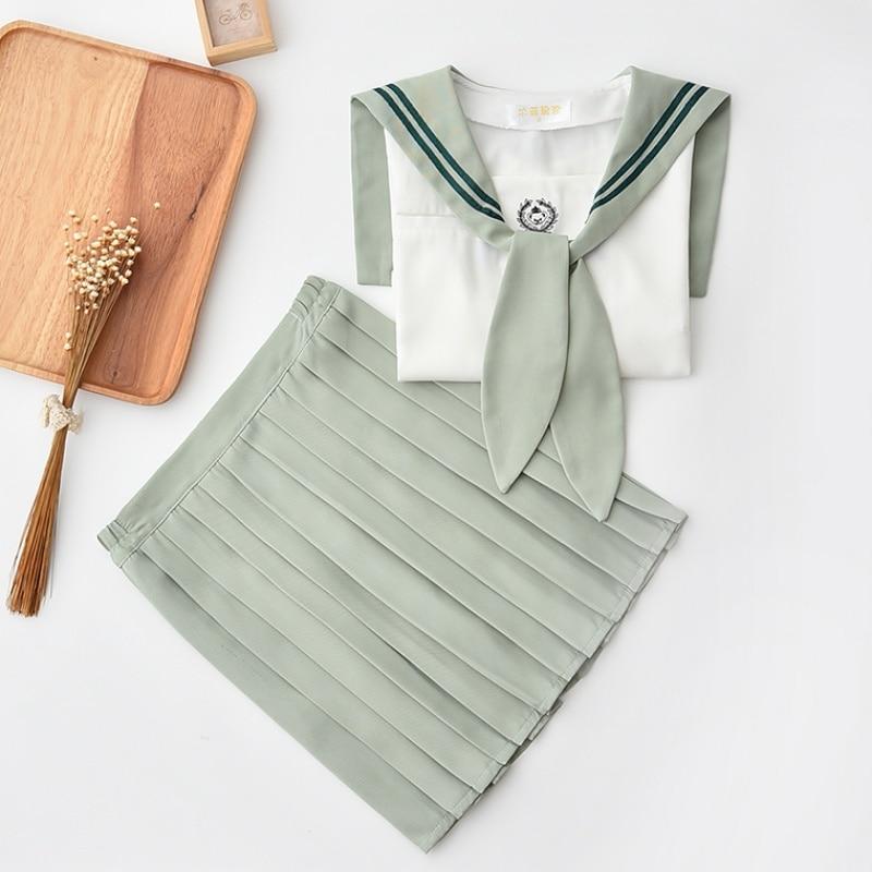 Sailor Dress High End JK Japanese School Uniforms XL Mint Green Sailor Collar Shirt And Skirt With Bow Tie Bear Embroidery