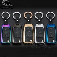 Zinc Alloy Key Case 3 Remote Control Button Fob Case For VW Volkswagen Bora Polo Golf