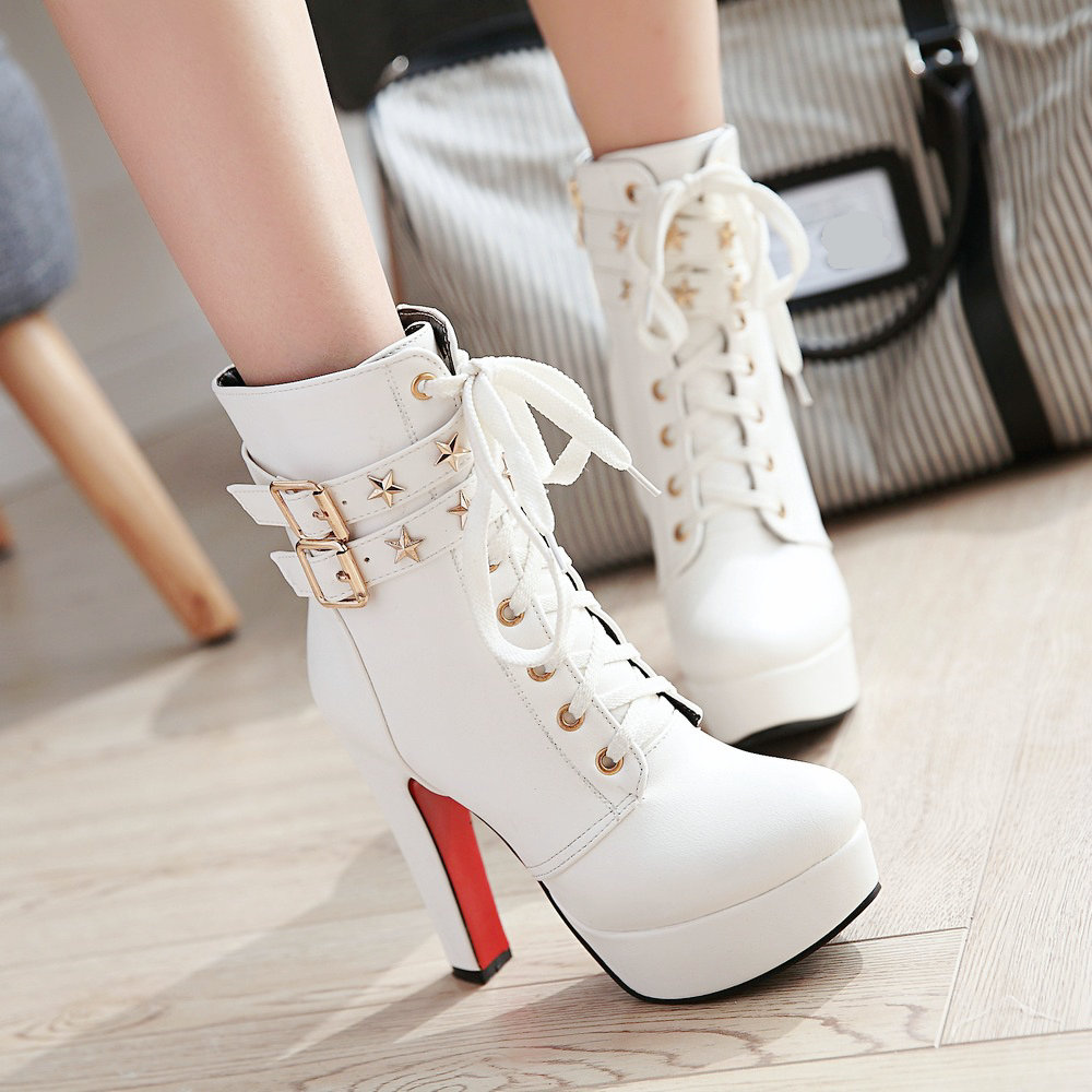 Women Platform Ankle Boots Martin Boots Square High Heel Fashion Booties Zipper Autumn Winter Female Shoes White Black Apricot