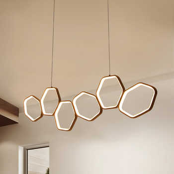 NEO Gleam Minimalism Modern LED Chandelier for Dining Kitchen Room Living Room White or Coffee Color Hanging Chandelier Fixtures - Category 🛒 Lights & Lighting