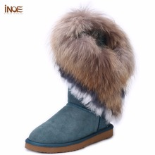 INOE fox fur tassels sheepskin leather wool fur lined fashion girls suede winter snow boots for women winter shoes black brown