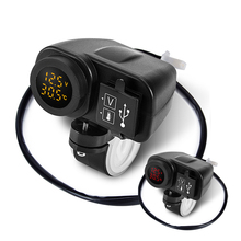 Newest Arrival Dual USB Motorcycle  Charger 12V 4.2A Moto 2.1A+2.1A To 5V 15W With Voltmeter LED Display Sockets