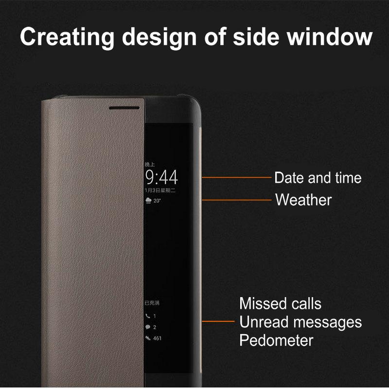 Untuk Huawei Pasangan 9 Pro Kasus Flip Penutup PU Kulit Cerdas Window - Aksesori dan suku cadang ponsel - Foto 6