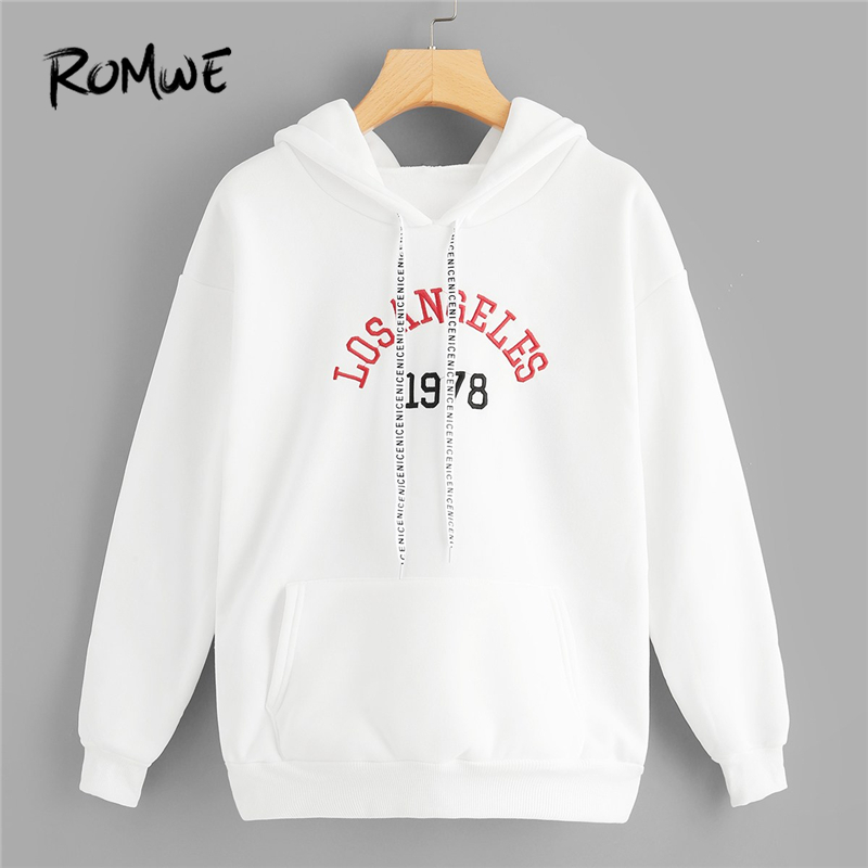 ROMWE Letter Embroidered Drawstring Pocket Hoodie Women White Spring Autumn  Tops Ladies Hooded Full Sleeve Sweatshirt 96295098f