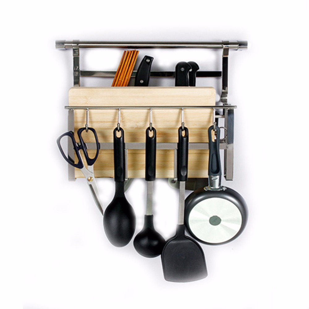 Kitchen Organizer Racks Aliexpress buy 188 stainless steel kitchen organizer wall aliexpress buy 188 stainless steel kitchen organizer wall mounted rack with hooks for cutting board pot pan sissor from reliable rack with hooks workwithnaturefo