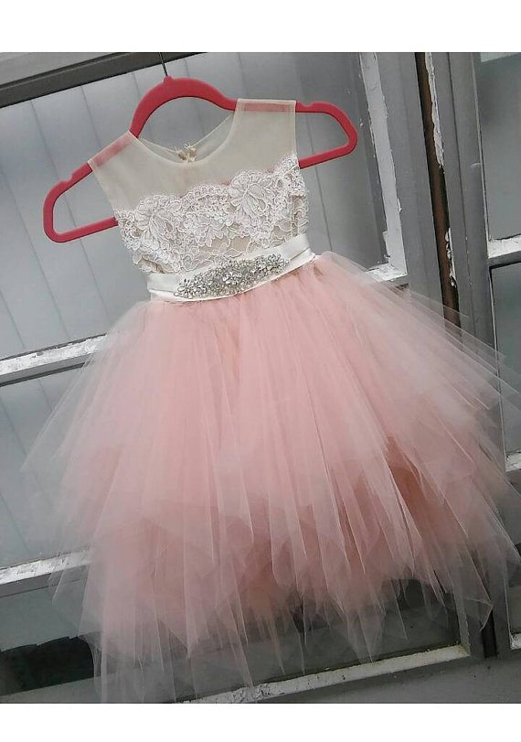 Blush pink flower girl dress lace appliques sheer net ankle length pouffy tulle beaded crystals rhinestone sash birthday dress