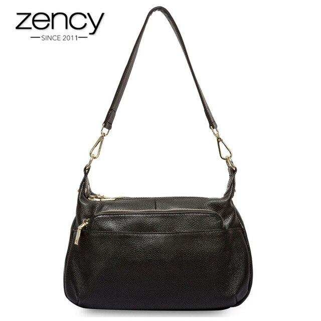 Zency 100% Genuine Leather Fashion Grey Women Shoulder Bag More  Compartments Hobos Lady Crossbody Messenger Purse Tote Handbag 9dd0fb480db34