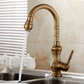 Antique brass kitchen faucet bronze finish,water tap kitchen Swivel Spout Vanity Sink Mixer Tap Single Handle Free Shipping1221F