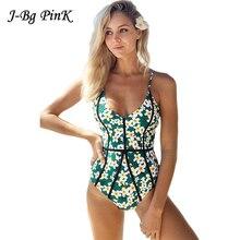 2018 Women Sexy Swimwear Floral Printed One Piece Swimsuit Female Strap Halter Swim Wear Monokini Padded Bathing Suits