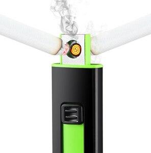 Image 4 - USB Зажигалка перезаряжаемая Электронная зажигалка тонкая сигарета ветрозащитная турбо полоса Зажигалка сигары плазменная непламенная двойная сторона