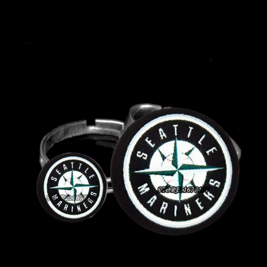 2017 New Fashion Crystal Lovers Couples Ring Seattle Mariners Charms  Baseball Mlb Sports Fans Jewelry Best