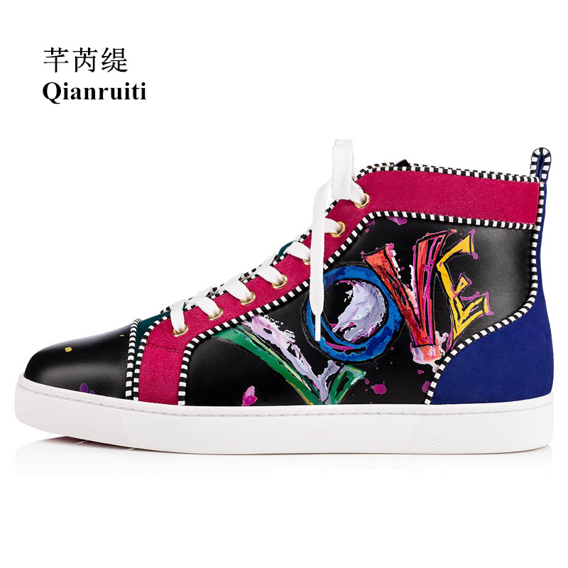 Qianruiti Men Painted Graffiti Sneaker Lace-up Round Toe Flat LOVE Letter High Top Men Runway Chaussures Hommes Plus Size39-47 plus size lace up letter and coconut tree print straight leg men s shorts