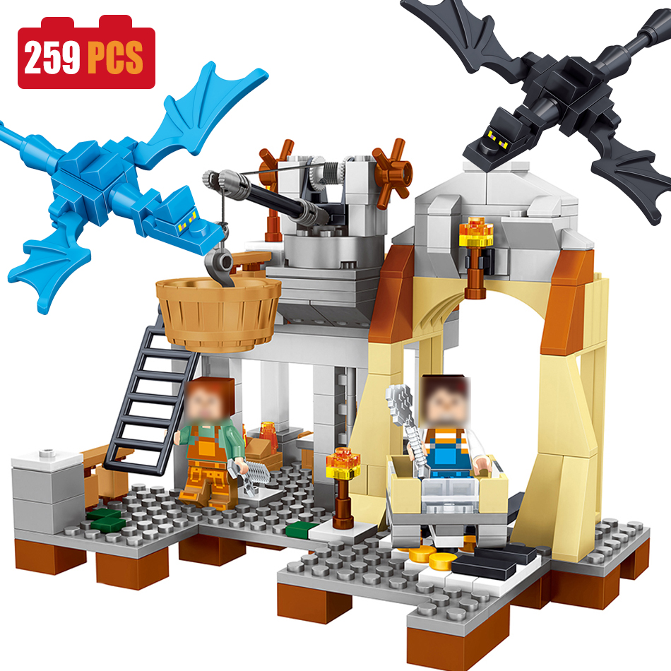 259PCS Mine World Dragon Figures Building Blocks Compatible legoed Minecrafted City Village Bricks Enlighten Toys For Children 10548 elves the precious crystal mine building block set naida farran figures baby dragon toys for children compatible 41177