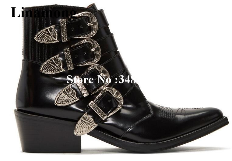 Women Motorcycle Boots With Four Belt And Ankle Strap Cool Square Heels Women Motorcycle Boots Med Heels Pointed Toe Ankle Boots