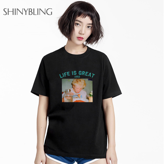 91530046c44 Loose T Shirt Women Summer European Vintage Photo Print Life Is Great Tops  Kawaii White T Shirt Short Sleeve Couples Clothes
