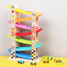 Wooden 7-Layer Ramp Race Track & 8 Mini Inertia Car Sliding Toy Vehicel&Train Baby Toddler Motor Skill Developmental Kids Gift(China)
