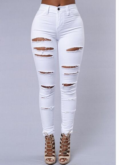 Vintage High Waist Skinny Denim Jeans Slim Ripped
