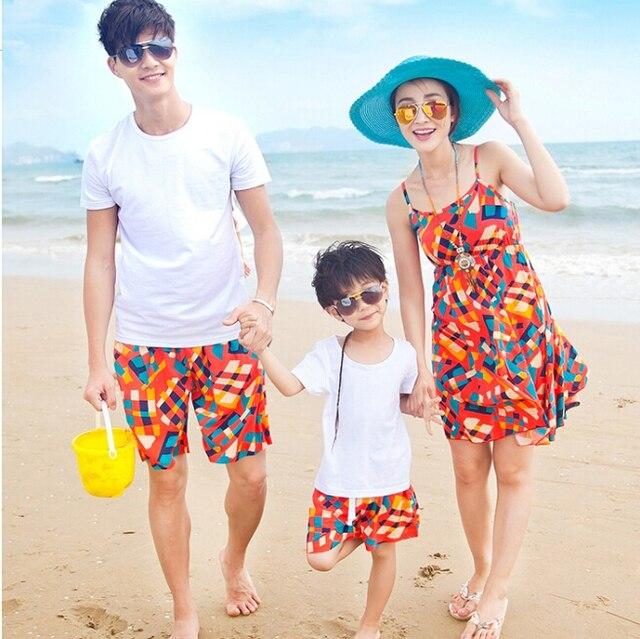 Семейные Сопоставления футболки + Шорты Семья Одежда Устанавливает Отец Сына Семья Набор