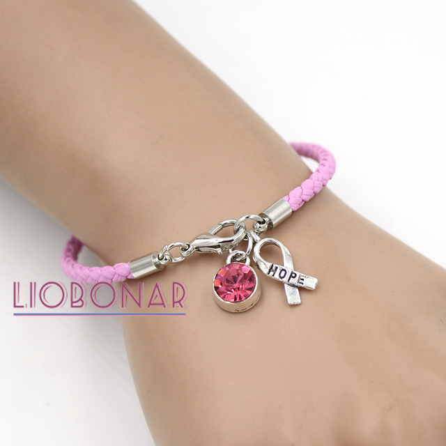Whole T Cancer Awareness Bracelet Jewelry Pink Leather Hope Ribbon Charm Bracelets For Center Foundation