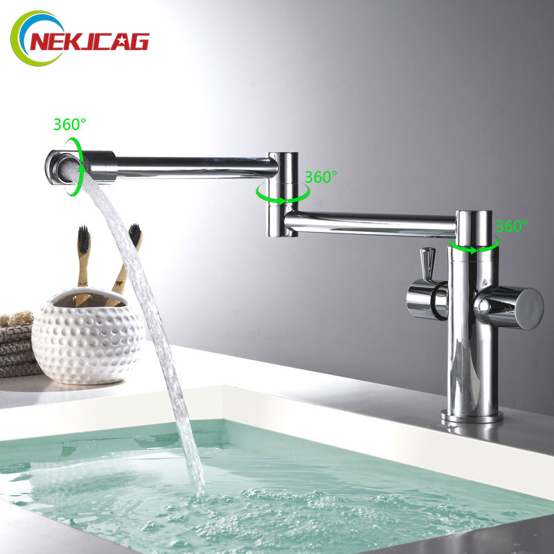 Single Lever Rotate Kitchen Bathroom Faucet Deck Mount Hot and Cold Water Sink Tap Chrome Black