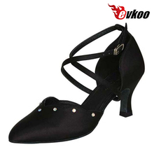 Professional Salsa Ballroom Dance Shoes Satin With Crystal Material High Quality And Popular Evkoo-335