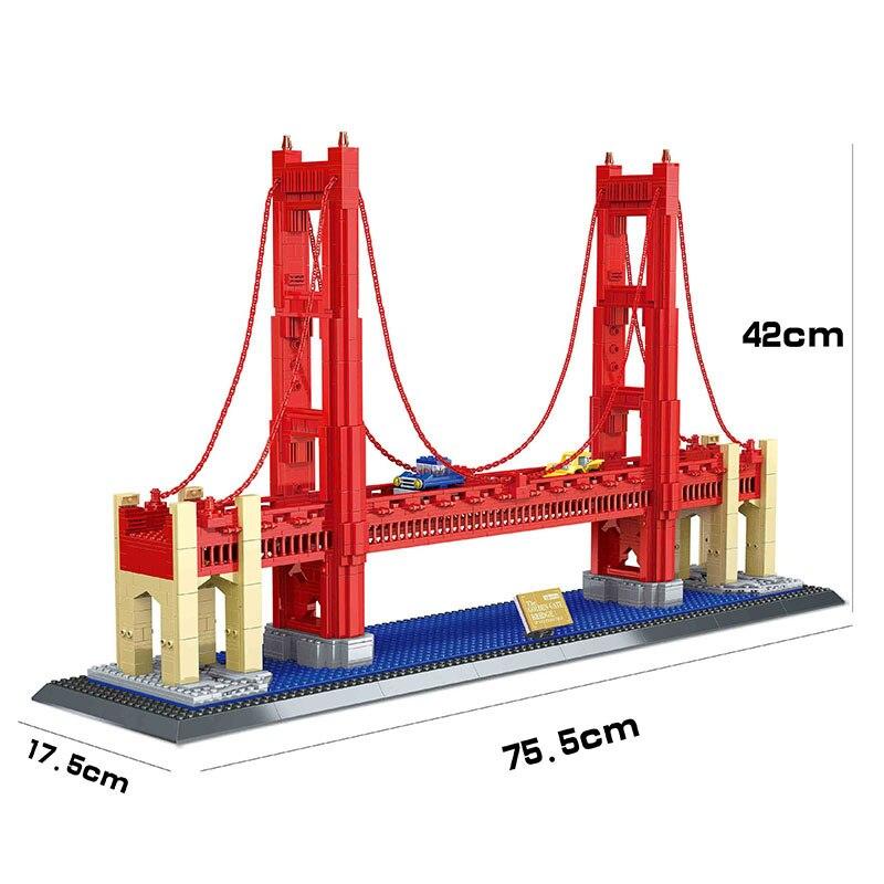 8023 6210 Famoso Edificio Serie Golden Gate Bridge 1977Pcs Building Blocks Mattoni Set di Modello di Architettura Compatibile-in Blocchi da Giocattoli e hobby su  Gruppo 3