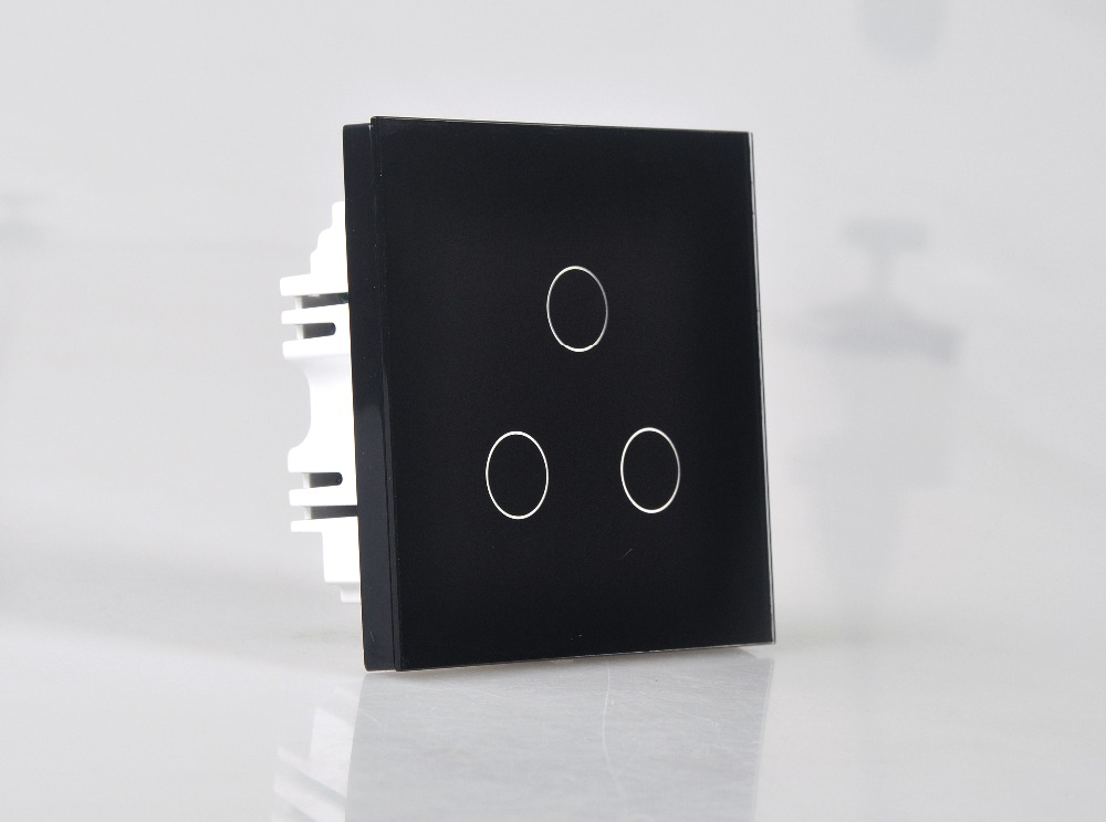 Smart Home 3 Gang 1 Way Wall Touch Switch Wallpad Luxury Crystal Glass Panel UK Switch Touch Interrupteur White/Black Hot Sale 2016 hot sale new touch switch crystal glass panel us au light switch 2 gang 1 way wall switch smart home touch switch