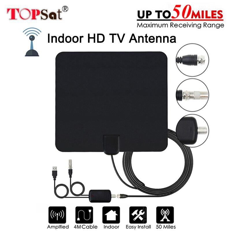 Antena de televisión HD Digital de 50 millas de la gama Digital amplificador antena de TV DVB-T/T2 tdt TV las antenas interiores DVB-T2 para satélite recibir