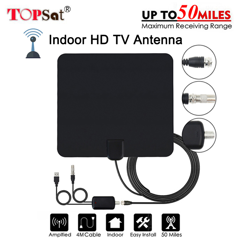 Antenne Digitale HD TV 50 Meilen Reichweite Digital Verstärker TV Antenne DVB-T/T2 TV Indoor Antennen DVB-T2 für Satellite erhalten