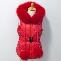 Бесплатная доставка, новый стиль, хлопковый жилет, бренд Fox Fur Trim hood and poms для детей