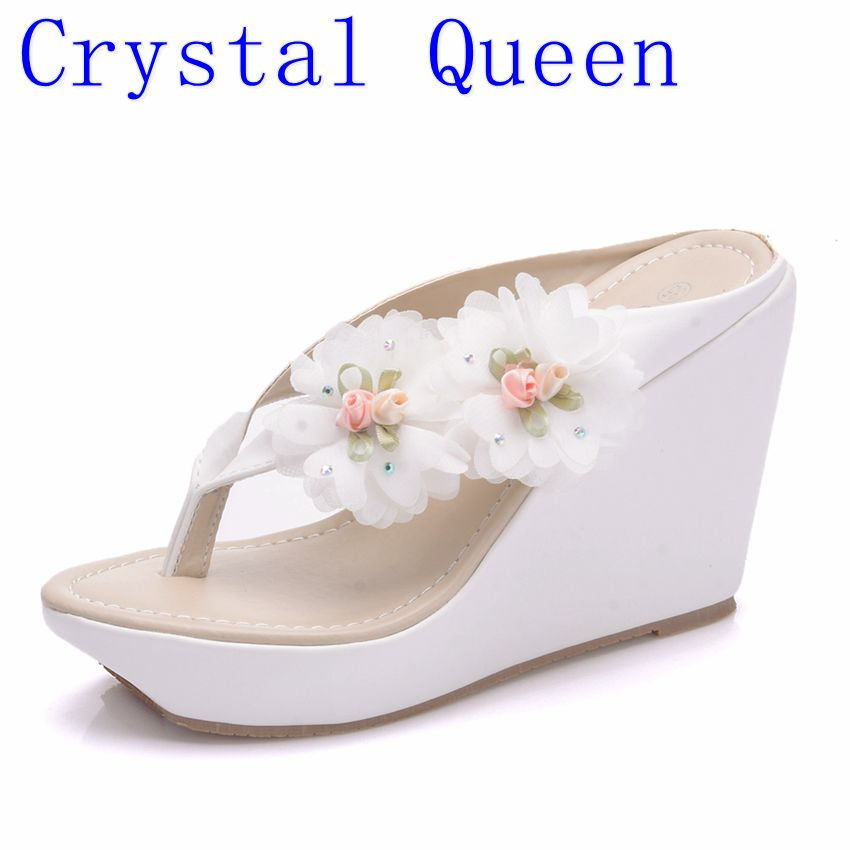 Crystal Queen Summer Women's Flip-Flop Sandals Platform Flip Flops Slippers Sandals Swing Wedges Women Shoes Plus Size summer style comfortable bohemian wedges women sandals for lady shoes high platform flip flops plus size sandalias feminina z567