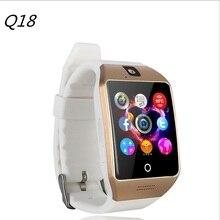 2017 nuevo bluetooth nfc smart watch q18 con cámara de sincronización de facebook sms sim soporte de tarjeta tf mp3 smartwatch para android ios teléfono