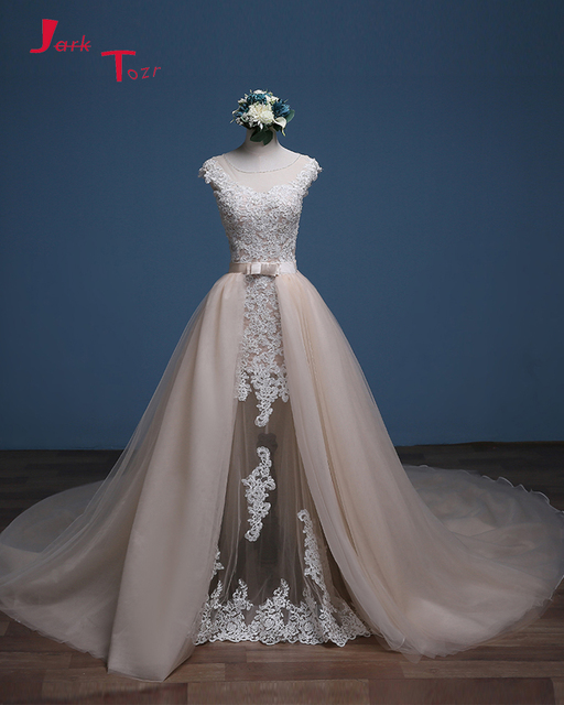 Jark Tozr 2019 Newest Arrive China Bridal Gowns Gelinlik Ivory Appliques  Champagne Tulle Detachable Train Mermaid Wedding Dress 788b31ff4e62