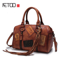 AETOO Autumn And Winter New Retro Punk Lady Handmade Leather Rivets Hand Messenger Bag Handbags