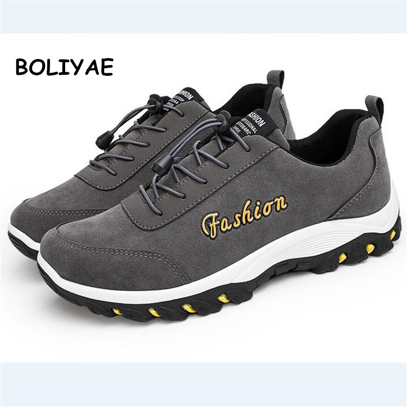 2019 Men Sneakers Casual Shoes For Adult Non-Slip Footwear Male Outdoor travel hiking shoes Autumn Cow   Suede     Leather   Shoes